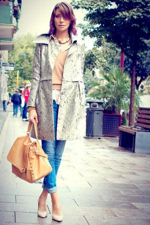 gold Postina by Zanellato bag - silver hoss intropia coat - blue Zara jeans