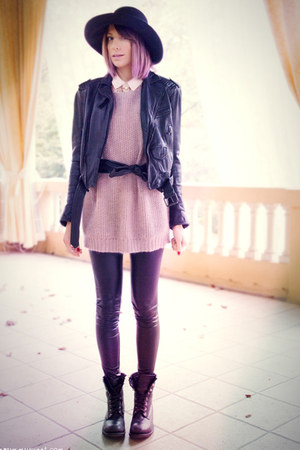 black ASH boots - black Colours & Beauty hat - black Zara jacket