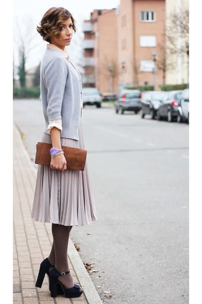beige asos skirt - light pink Zara shirt - burnt orange vintage bag