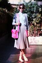 beige asos skirt - light blue vintage shirt