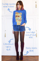 blue vintage sweater - crimson Bertie boots - crimson Calzedonia tights