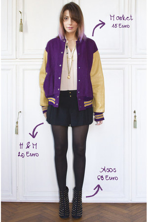 deep purple vintage jacket - black asos boots - black H&amp;M shorts
