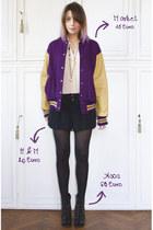 deep purple vintage jacket - black asos boots - black H&M shorts