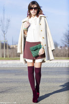 ivory vintage coat - magenta Bertie boots - magenta Aniye By dress