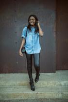 thakoon boots - Helmut Lang leggings - Blk Dnm shirt - Chanel bag