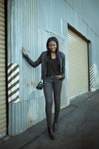 Saint Laurent boots - Black Orchid jeans - Improvd jacket - Club Monaco bag