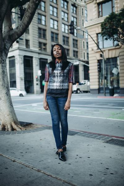 Dries Van Noten vest - Current Elliott jeans - Dries Van Noten blouse