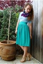 magenta floral print vintage scarf - teal thrifted skirt - sky blue v-neck Targe