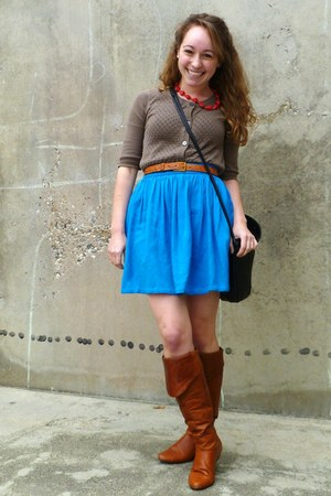brown Target cardigan - tawny Chinese Laundry boots - tawny vintage belt