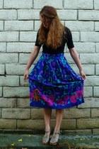 heather gray t-strap neutral coach wedges - deep purple vintage skirt - black to