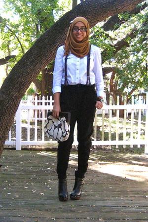 camel scarf - white Gap shirt - suspenders Zara pants - booties Bakers