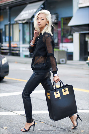 black Sophie Hulme bag - black unknown jacket - black Zara pants