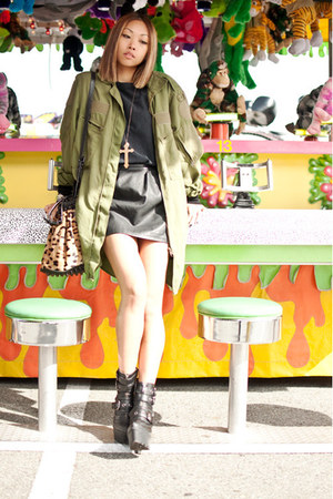 tan Alexander Wang purse - black Din Sko boots - olive green army surplus jacket