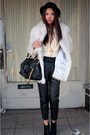 White-vintage-coat-beige-anna-sui-for-target-blouse-black-vintage-pants-bl