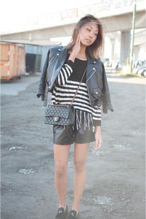 black vintage from Ebay jacket - navy romwe sweater - black Taobao shorts