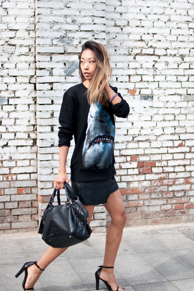 shark sweater  sweater - Alexander Wang shoes - Zara purse - Style Stalker skirt