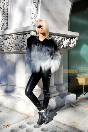 heather gray ombre fur coat Marciano by Guess coat - black To Be Announced boots