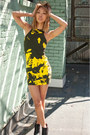 Black-sam-edelman-boots-yellow-obesity-speed-dress