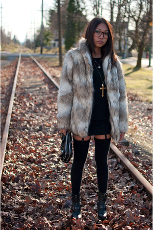 beige H&M coat - black H&M dress - black American Apparel tights - black DinSko