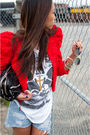 Red-h-m-garden-collection-jacket-white-vintage-t-shirt-blue-vintage-levis-50