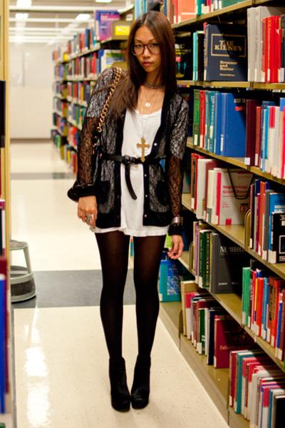 black lace Rodarte for Target cardigan - black mendel BCBG boots