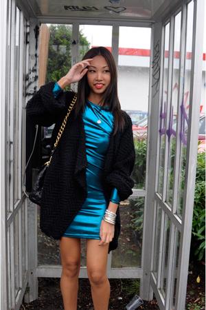 blue American Apparel dress - black zoe sam edelman boots