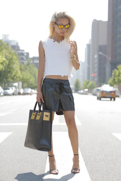 black Sophie Hulme purse - black THPSHOPCO shorts - black Zara sandals
