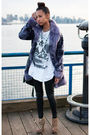 Purple-vintage-aldo-jacket-white-vintage-t-shirt-black-silence-noise-pants-