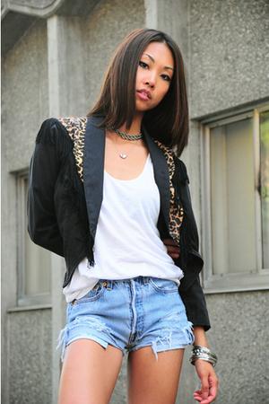 vintage jacket - wilfred skirt - Levis 501s shorts - Frye boots