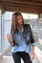 blue oversized denim Zara shirt - black skinny Cheap Monday jeans