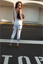 white Isabel Marant jeans - black Alexander Wang bag - white TNA vest