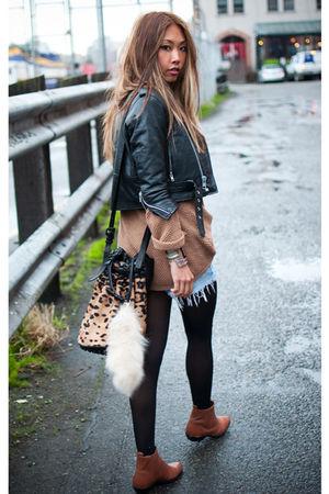 beige Alexander Wang bag - brown vintage boots - black vintage from Ebay jacket