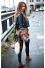 Black-vintage-from-ebay-jacket-brown-topshop-sweater-blue-levis-shorts-bro