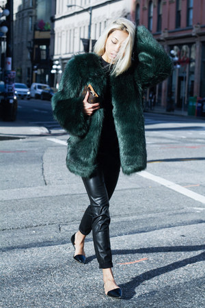 faux fur custom made coat - leather skinny Zara pants - dorsay Zara flats