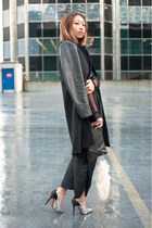black Zara jacket - black Yesstyle purse - silver Zara pumps - black romwe pants