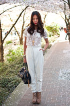 white vintage pants - beige Ashish for Topshop boots