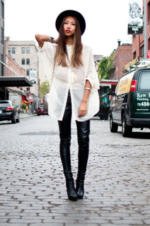 white urban behavior blouse - black Urban Outfitters pants - black sam edelman b