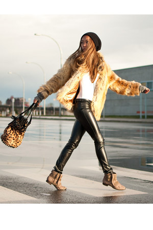 tan Alexander Wang bag - beige Zara boots - mustard H&amp;M coat