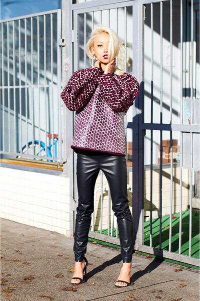 maroon Alexander Wang sweater - black Zara pants - black Zara sandals