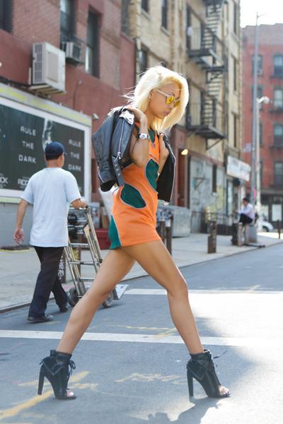 black freja booties Alexander Wang boots - orange neon Junya Watanabe dress