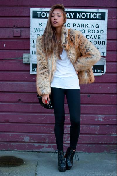 Beige Faux Fur H&m Jacket