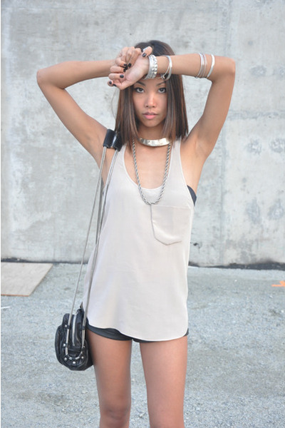 wilfred top - forever 21 shorts - Alexander Wang purse - Frye boots