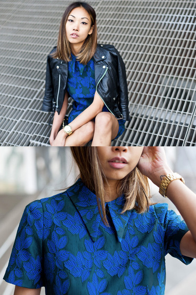 vintage jacket - Opening Ceremony dress - gold Michael Kors watch