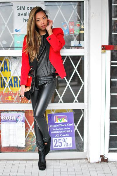 red Vintage Christian Dior blazer - black BCBG boots - black H&M t-shirt