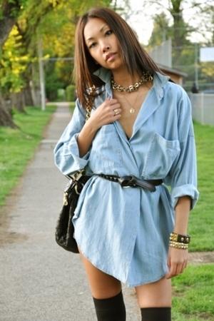 blue oversized bf Zara shirt - black stam Marc Jacobs purse