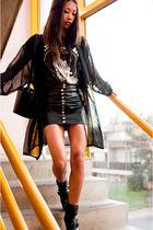 black vintage skirt - black Din Sko boots - black lingerie jacket vintage jacket
