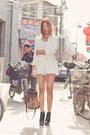 White-zara-blazer-tan-alexander-wang-purse-white-vintage-shorts-white-spor
