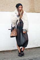 black Trooops dress - off white vintage coat - tan Alexander Wang purse - black