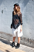 black buckle leather Zara boots - black Ebay hat - white 31 Phillip Lim shorts
