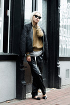 black vintage jacket - dark khaki H&M sweater - black cat eye BCBG sunglasses